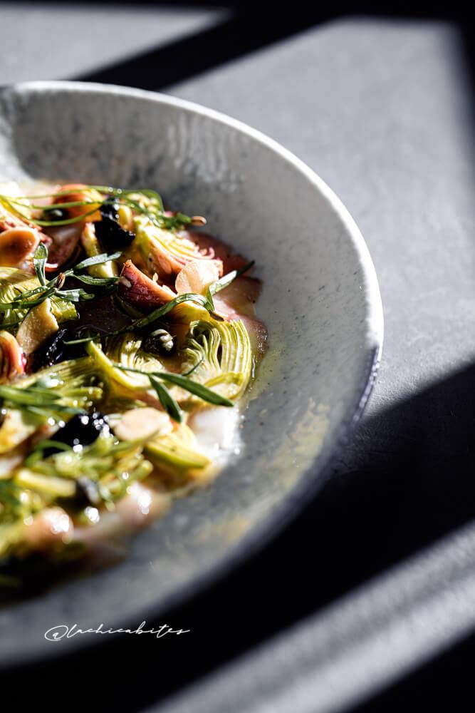 Artichoke salad and mackerel carpaccio