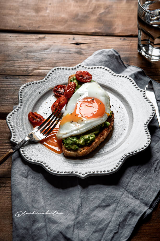 Food Photography Eggs with Avocado on Toast in London