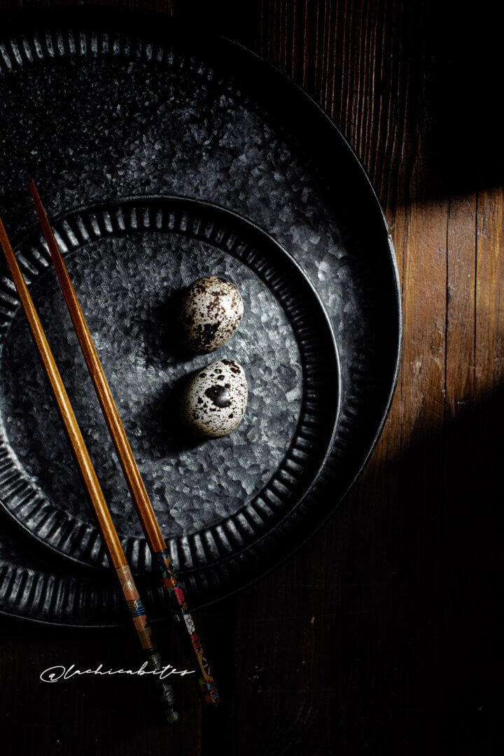 Dark mood quail eggs styling. Editorial food magazine photohgrapher in London @lachicabites
