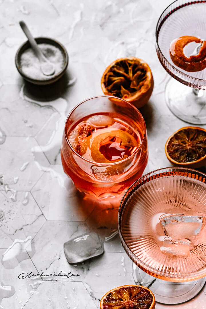 Cocktail styling with blood orange. Drink photography inspiration. @lachicabites food photographer