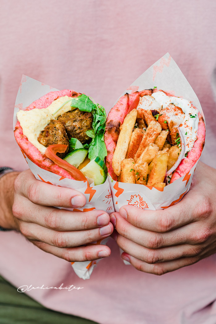 Restaurant Photography in London. Pink greek wraps @lachicabites